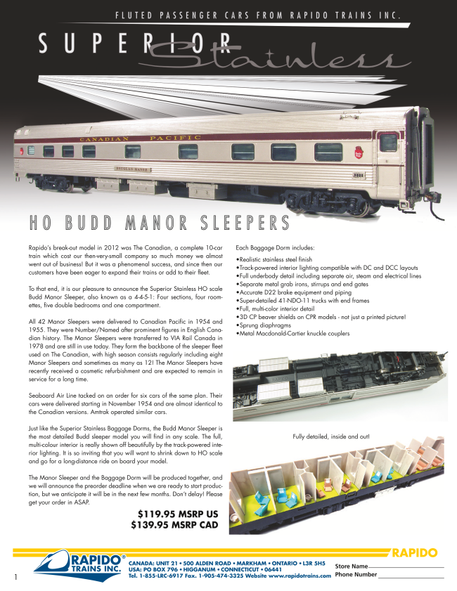 Rapido Budd Manor Sleeper flier