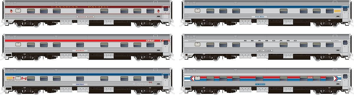 Rapido HO Budd Manor sleeper paint schemes