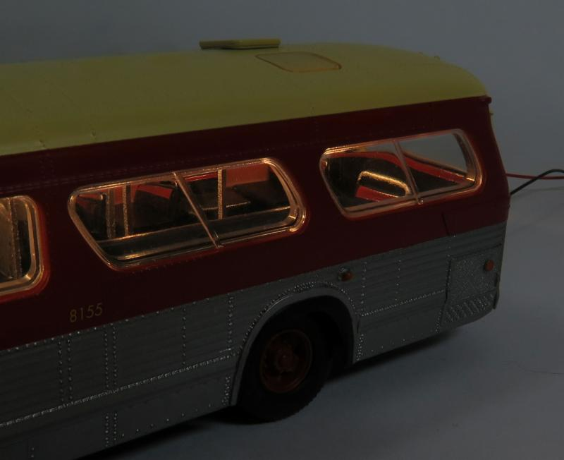 Bus interior with lighting