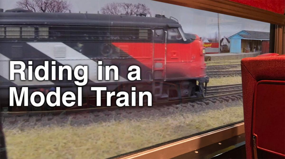 Riding in a model train