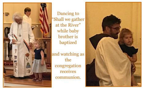 Gretchen Heltzel at brother Theodore's baptism