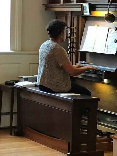 Arline Hinkson at the organ