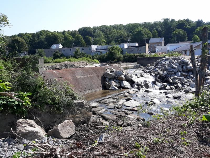 Heminway Pond Dam Removal - View upstream from west bank