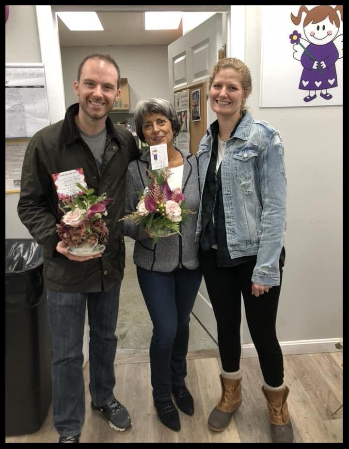 Pamela & Casey Trio wedding flowers donation