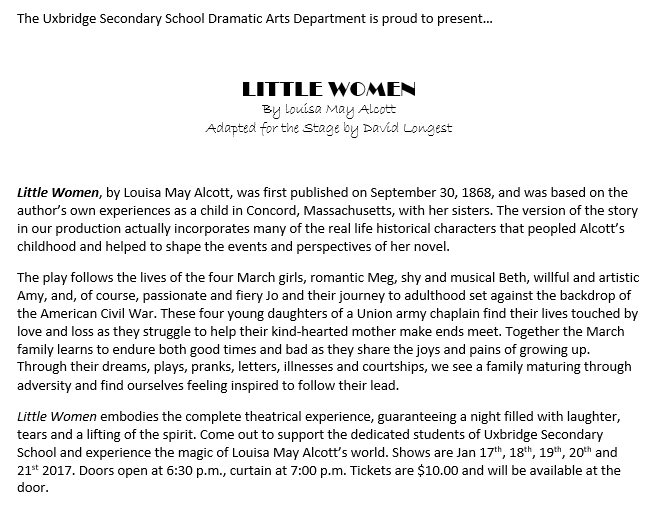 Little Women presented by the USS Dramatic Arts Department