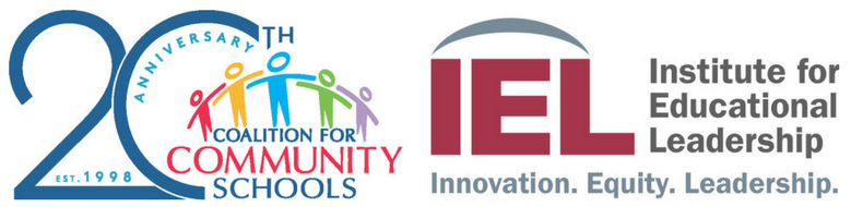 Logos for Coalition for Community Schools 20th anniversary version and the Institute for Educational Leadership