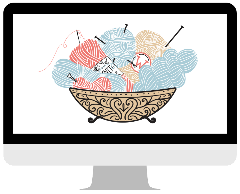 bowl of yarn in a computer screen