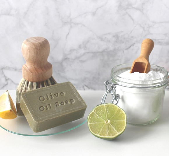 olive oil, lime, and honey are just some all natural ingredients for non-toxic cleaning