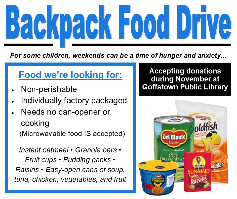 list of items needed for backpack food drive with image of canned goods