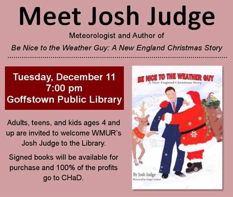 """Josh Judge, WMUR Meteorologist and Author of """"Be Nice to the Weather Guy: A New England Christmas Story"""""""