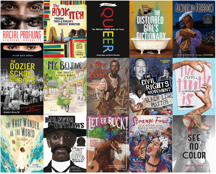 Book Cover Collage of 15 books OverDrive: Own Voices & Diversity Books for Students