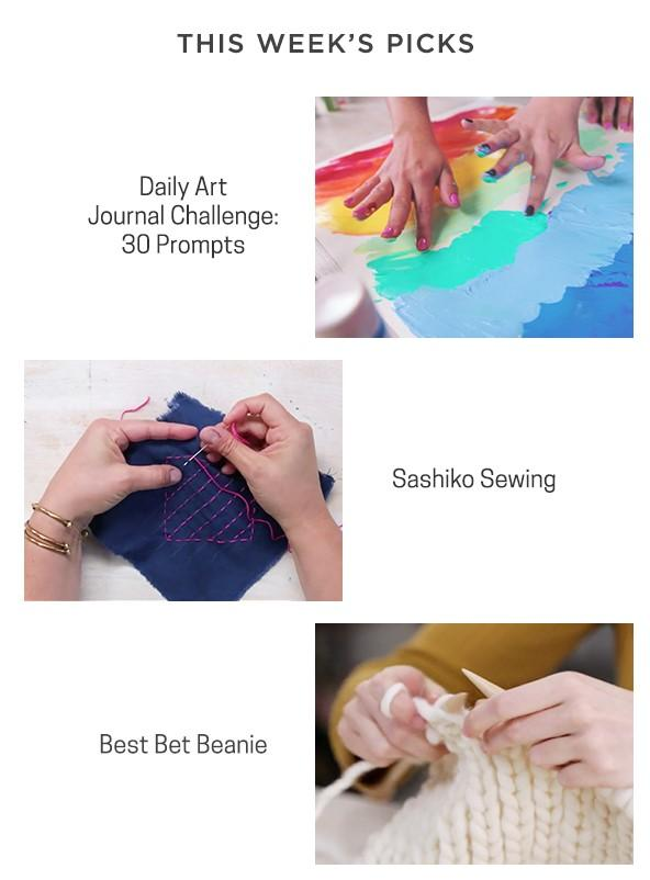 This Week's Picks are Daily Art Journal Challenge 30 prompts  and Sashiko Sewing and Best Bet Beanie Knitting project