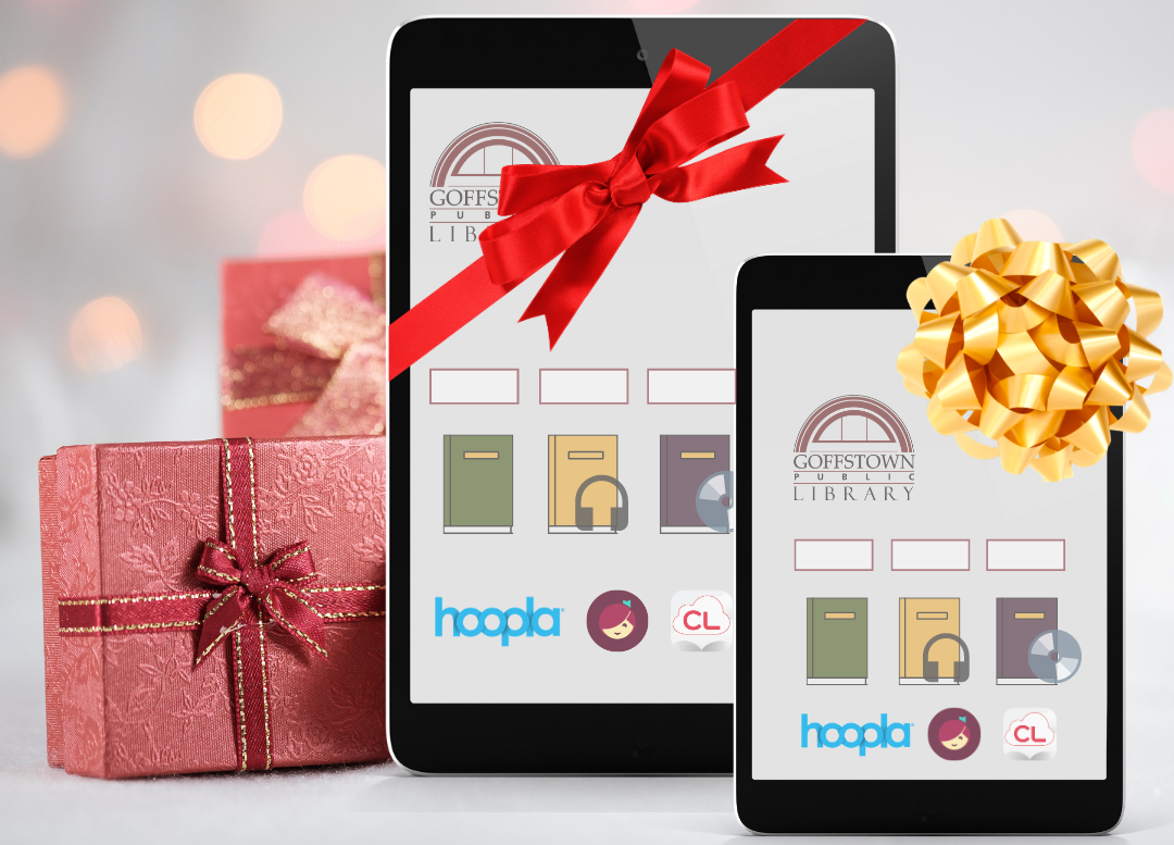 tablet devices wrapped with bows displayed next to holiday wrapped gift boxes