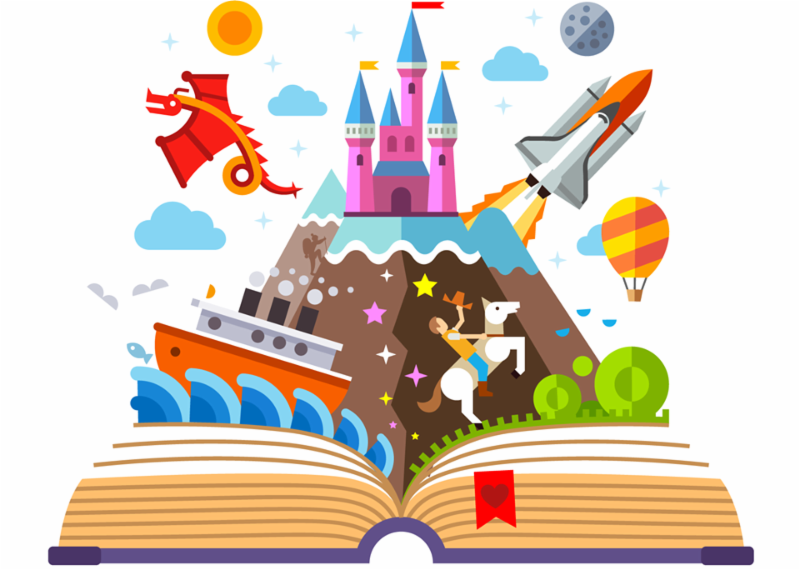 open book with imagination images pouring out, like castles and boats, rockets and dragons