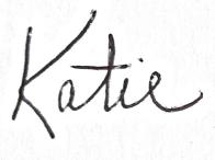 The handwritten name Katie