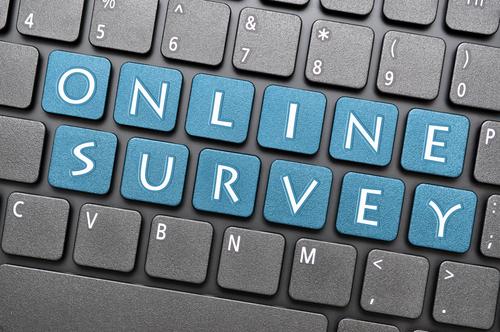 On line survey on keyboard