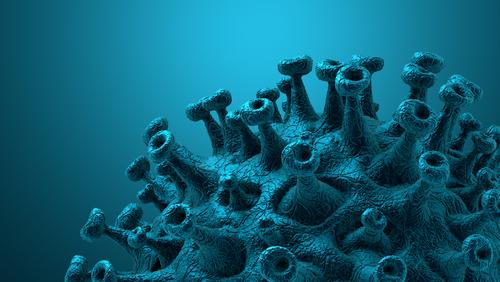 Coronavirus disease COVID-19 outbreak. Microscopic view of a infectious virus. SARS-CoV-2 virus cell. 3D Rendering