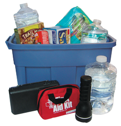 Blue bin with emergency preparedness items such as water, flashlight, first aide kit and food