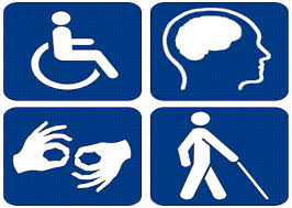 Four blue squares with white stick figures.  First wheelchair_ second outline of  brain_ third person using cane_ fourth two hands signing