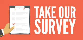 Hand holding clipboard with words _Take Our Survey_