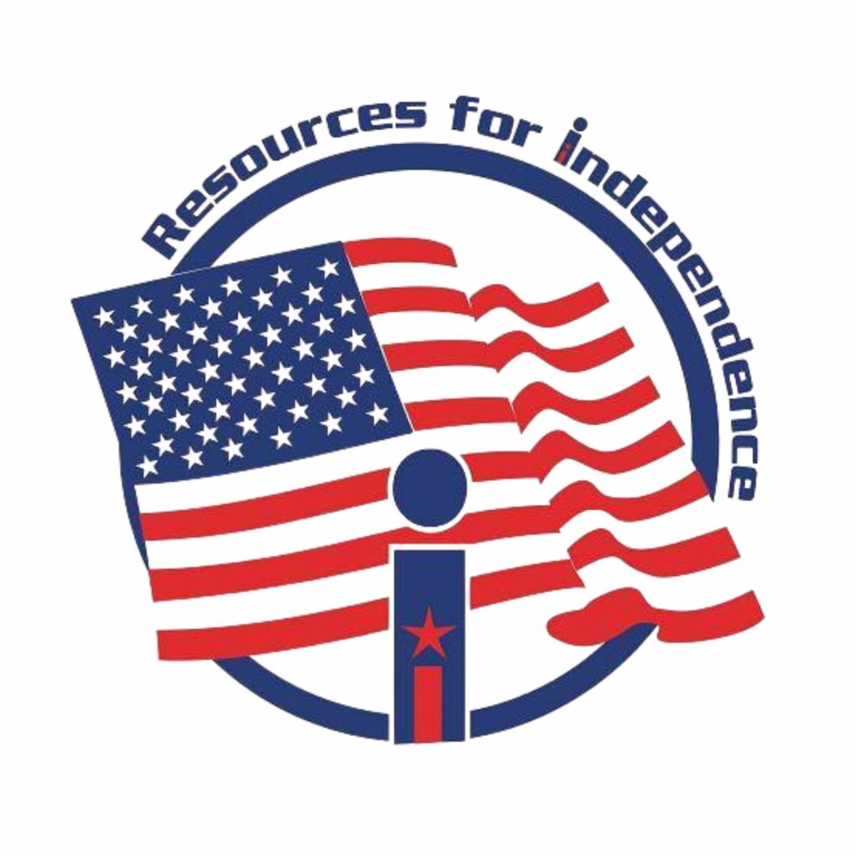 Resources for Independence logo with US flag.  Big blue _i_ with red star inside.