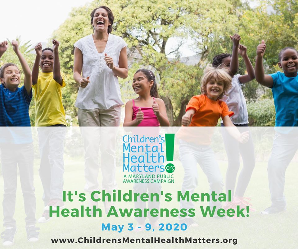 One adult jumping outside with group of children.  Caption is _Children_s Mental Health Awareness Week May 3-9_ 2020