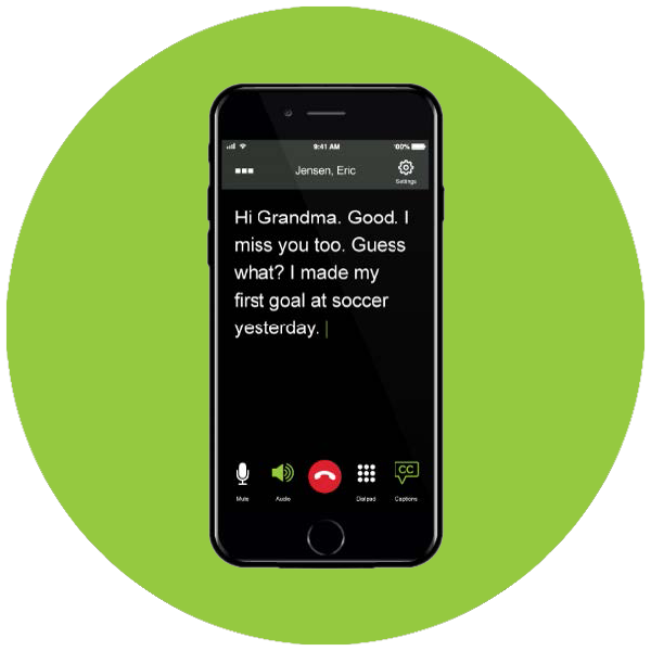 Cellphone with captions on screen