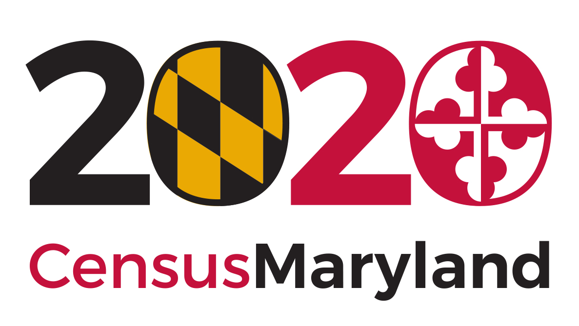 2020 with the first 0 has gold_black from MD flag_ the second 0 has red white from flag.  Underneath says Census Maryland