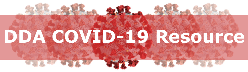 Red virus images with words _DDA COVID-19 Resource_ in white letters