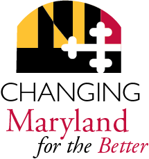 Changing Maryland for the better logo with portion of MD flag and seal