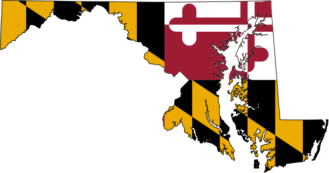 maryland outline with flag image inside