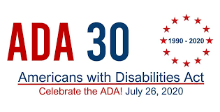 ADA 30th logo with red stars in circle_ under says _Celebrate the ADA July 26. 2020_