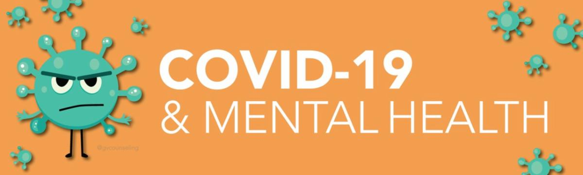 COVID-19 _ Mental Health on orange background with green cartoon virus