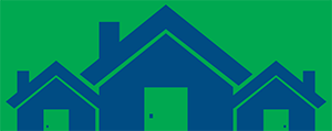 Outline in blue of houses on green background.