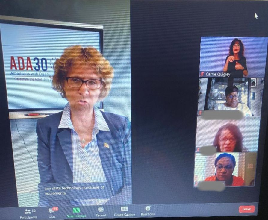 Secretary Beatty is in large panel to left_ with four smaller panels on right.  Top panel is ASL interpreter.