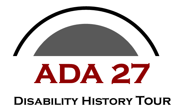 Gray half circle and black half circle above ADA 27 in red and Disability Hisotyr Tour in black