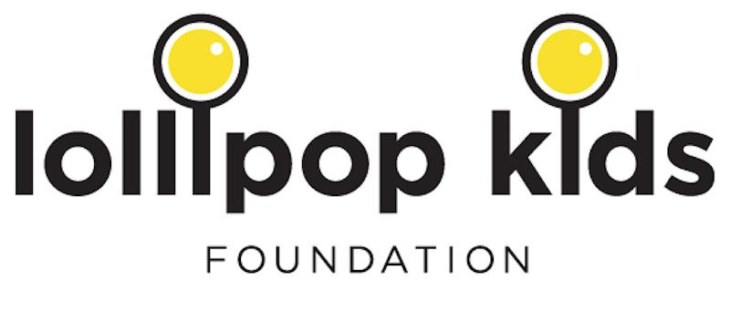 Lollipop Kids Foundation logo.  Name with yellow circles above the _i_s.