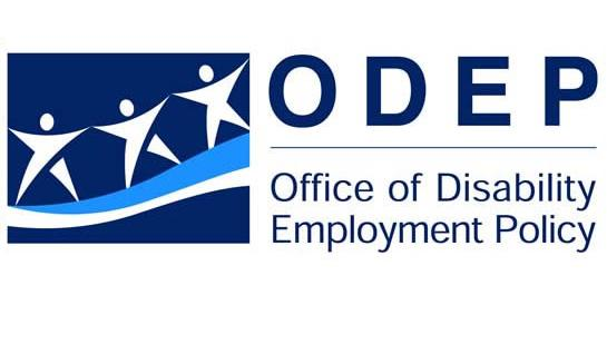 ODEP Office of Disability Employment Policy with logo of 3 star cartoon people on light blue ribbon.