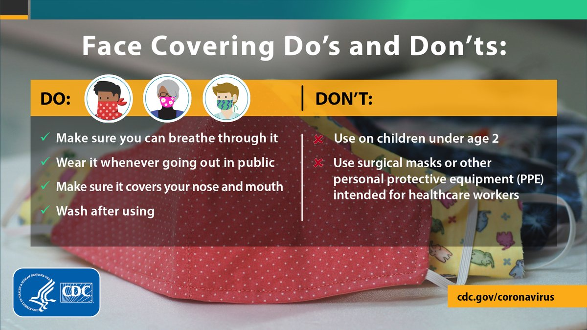 CDC Do_s and Don_ts of face covering infographic.  Info contained in article