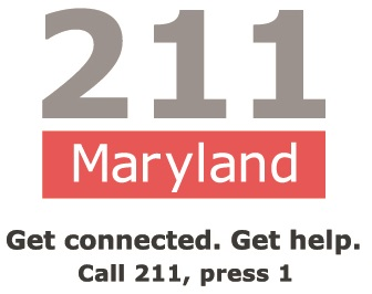 211 Maryland Get Connected. Get Help. Call 211_ press 1 Black letters on white background.