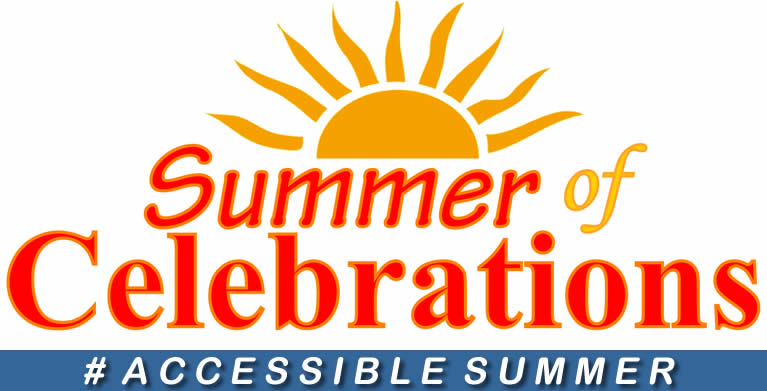 Rising sun over words Summer of Celebrations _Accessible Summer
