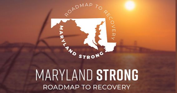 Sunset picture of Bay Bridge as background to Maryland Strong logo in white letters.
