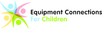 Equipment Connections for Children logo_ multicolor cartoon people with hands raised in a circle.