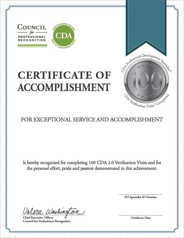 100 Verification Visit Certificate
