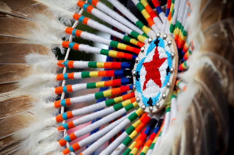 native american design with beading and feathers