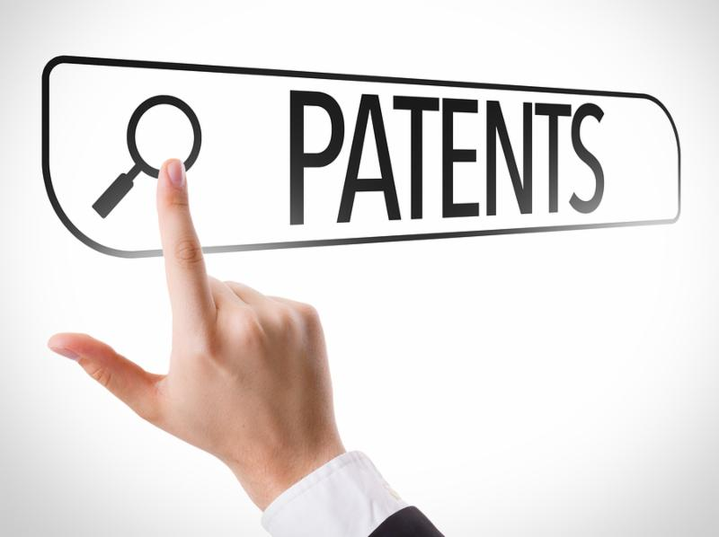 Patents written in search bar on virtual screen