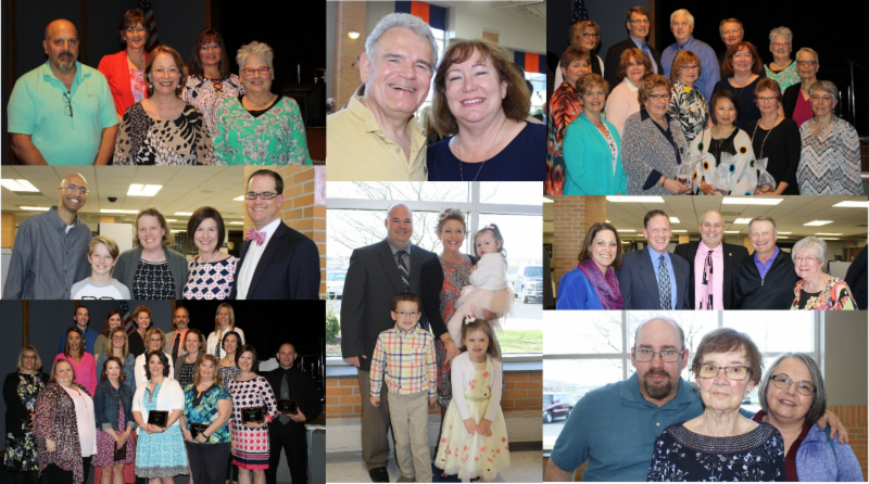 Collage of photos from staff recognition night