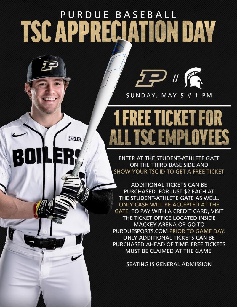 TSC appreciation day at Purdue baseball May 5