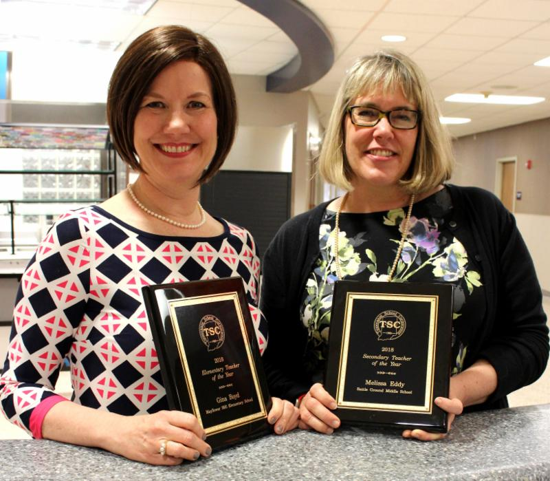 Teachers of the Year Gina Boyd and Melissa Eddy