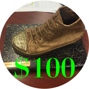 Golden shoe and $100